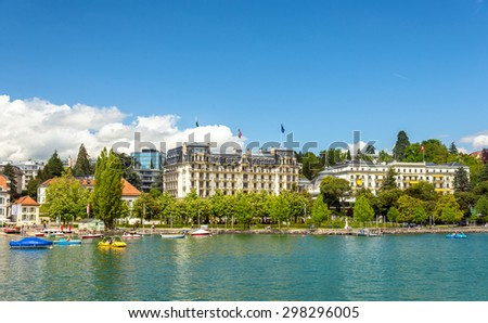 View of embankment in Lausanne - Switzerland - stock photo