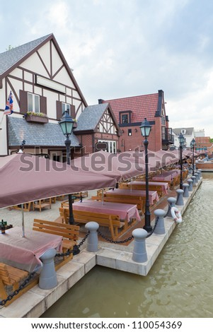 View of empty outdoor restaurant in Thailand - stock photo