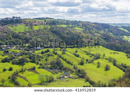 View of English countryside from Heights of Abraham, Derbyshire