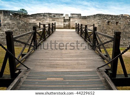 View of entrance bridge of San Marcos Castle, National Monument, in Saint Augustine, Florida. - stock photo