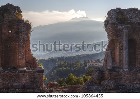 View of Etna from Greek Theatre, Taormina
