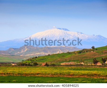 View of Etna volcano and Sicily field - stock photo