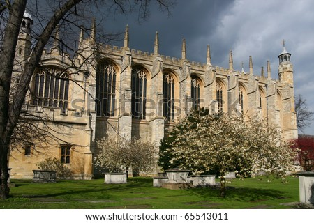 View of Eton College Chapel, Windsor, England - stock photo