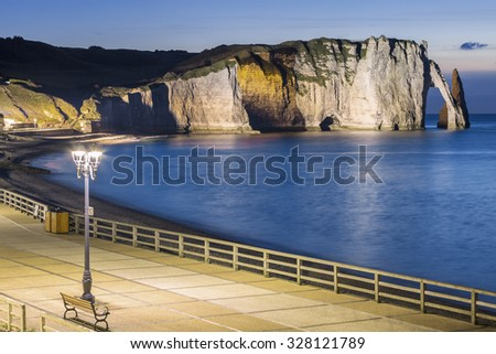 View of Etretat Aval cliff by night - stock photo
