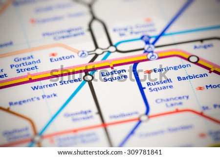 View of Euston Square station on a London subway map. - stock photo