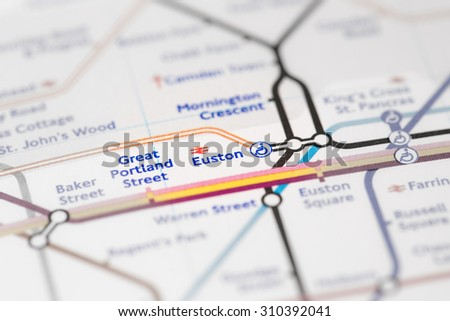 View of Euston station on a London subway map. (selective colouring) - stock photo