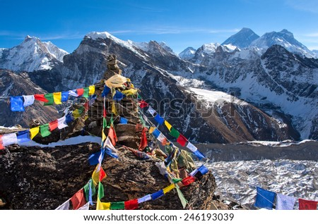 View of Everest from Gokyo ri . Nepal  - stock photo