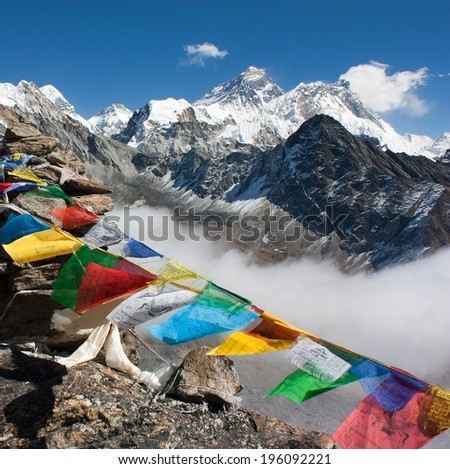 view of everest from gokyo ri - way to Everest base camp - Nepal - stock photo