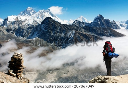 view of Everest from Gokyo Ri with tourist on the way to Everest base camp - Nepal  - stock photo