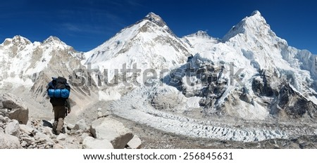 view of Everest from Pumo Ri base camp with tourist on the way to Everest - Nepal