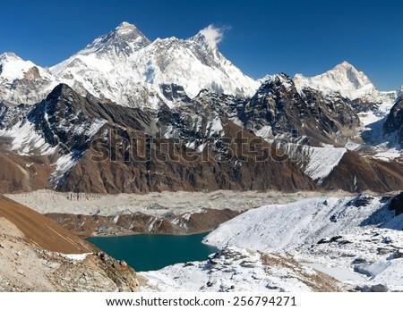 View of Everest, Lhotse, Makalu and Gokyo Lake from Renjo La pass - way to Ewerest Base camp - Three passes trek - Nepal - stock photo