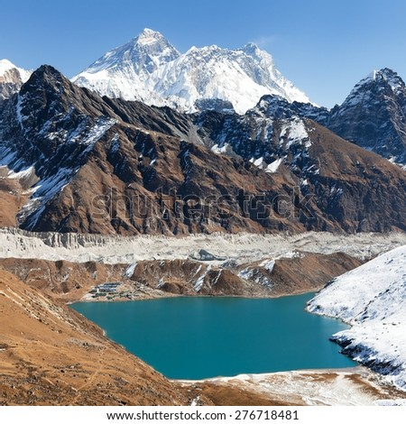 View of Everest, Lhotse, Ngozumba glacier and Gokyo Lake from Renjo La pass - way to Everest Base Camp, Three passes trek, Khumbu valley, Sagarmatha national park, Nepal - stock photo