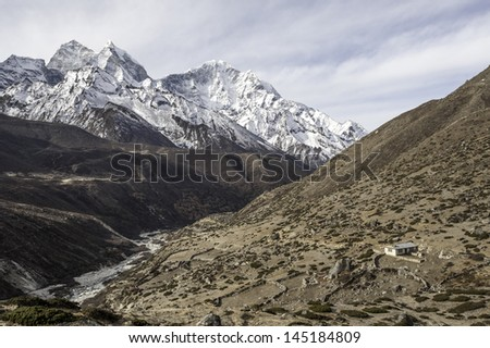 View of Everest Region from the trail between Tengboche and Pheriche -Nepal - stock photo