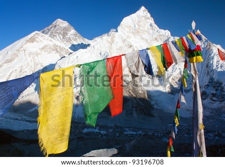 view of Everest with buddhist prayer flags from kala patthar