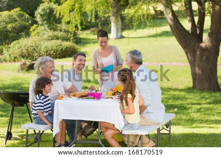 View of extended family dining at outdoor table - stock photo
