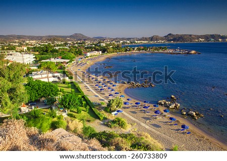View of Faliraki bay and its excellent beach, Rhodes island - stock photo