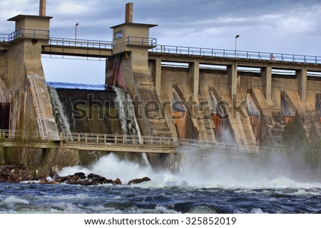 View of falling water for hydroelectric power station - stock photo