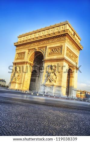 view of famous Arc de Triomphe in Paris, France - stock photo