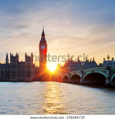 View of famous Big Ben clock tower in London at sunset, UK.
