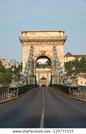 View of famous Chain bridge in Budapest in early morning - stock photo