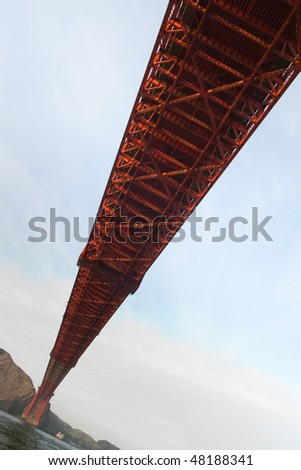 View of famous Golden Gate bridge in San Francisco from below - stock photo