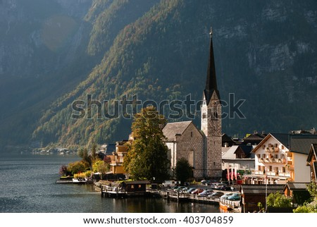 View of famous Hallstatt mountain village with Hallstatter See in the Austrian Alps, region of Salzkammergut, Austria - stock photo