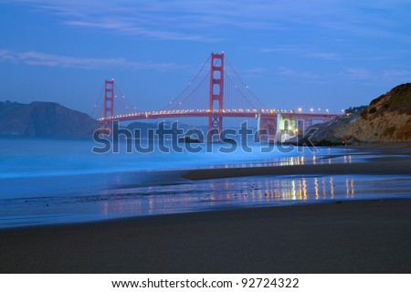 View of famous San Francisco Golden Gate bridge from baker beach - stock photo
