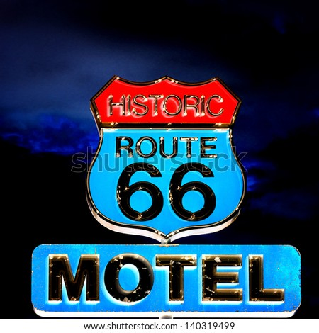 view of famous sign on Route 66 at night, USA - stock photo
