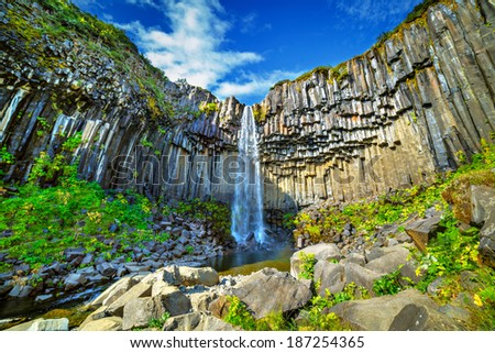 View of famous Svartifoss (Black Fall) in Skaftafell National Park, southeast Iceland - stock photo