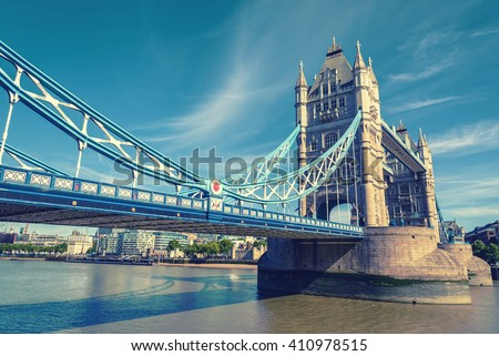view of famous Tower Bridge over the River Thames, London, UK, England, vintage effect style - stock photo