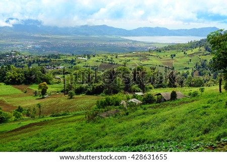 View of farm terrace and Tomohon town.  North Sulawesi. Indonesia