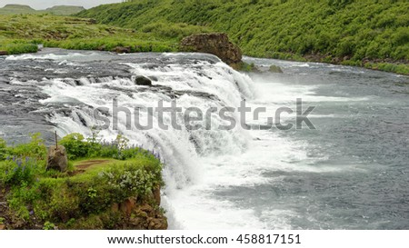 View of Faxi Waterfall on the Tungufljot River in Iceland