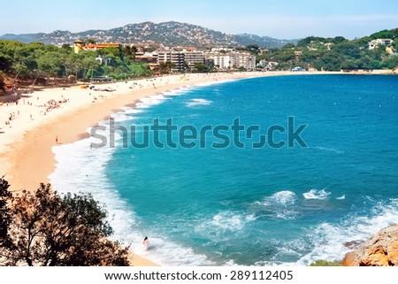 View of Fenals beach at Lloret de Mar. Costa Brava, Catalonia, Spain - stock photo