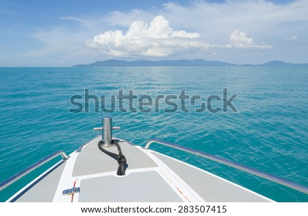 view of ferry boat at Samui island, with blue sky - stock photo