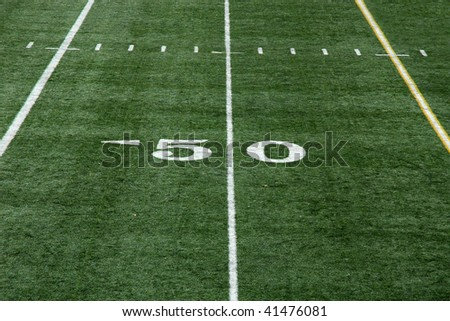 View of fifty yard line on an artificial turf football field