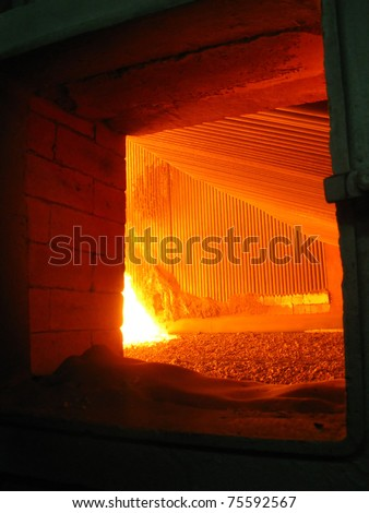 view of fire in the coal-grate boiler