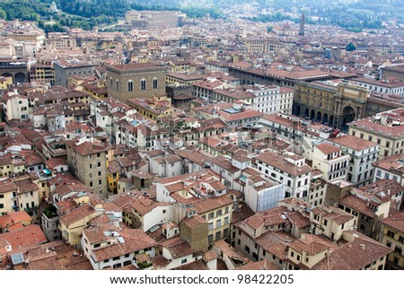 View of Firenze from dome - stock photo