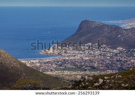 View of Fish Hoek town from Silvermine Reserve, Cape Town, South Africa - stock photo