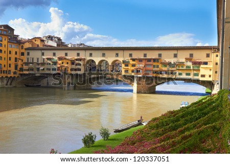 view of Florence, Arno River and famous Ponte Vecchio - stock photo