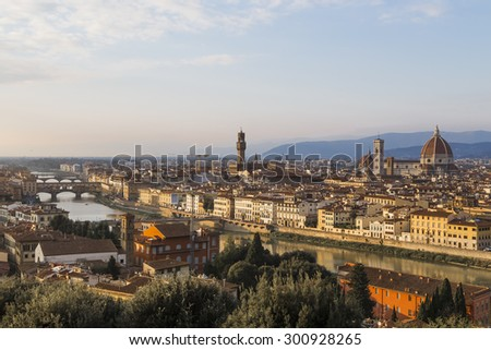 View of Florence at sunset from Piazzale Michelangelo. Italy
