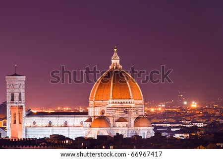 View of Florence duomo from the Hill of Piazzale Michelangelo - stock photo