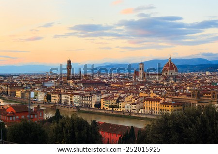View of Florence, famous city in Tuscany, Italy - stock photo