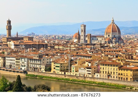 View of Florence / Firenze with duomo, Tuscany, Italy - stock photo