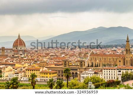 View of Florence, Palazzo della Signoria from Piazzale Michelangelo. - stock photo