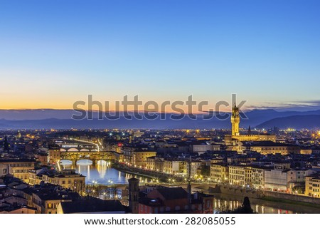 view of Florence with Ponte Vecchio in evening from Michelangelo hill, Italy
