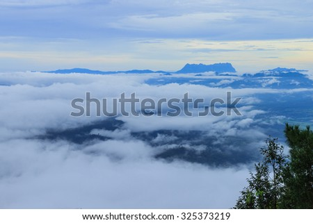View of forest at Tropical Mountain Range after rain fall, Doidam, Chiang Mai, Thailand.  - stock photo