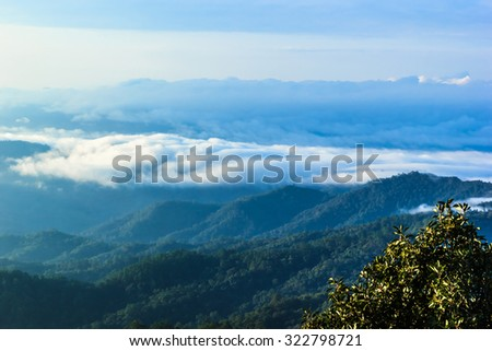 View of forest at Tropical Mountain Range after rain fall, Doidam, Wiang Haeng, Chiangmai, Thailand.  - stock photo