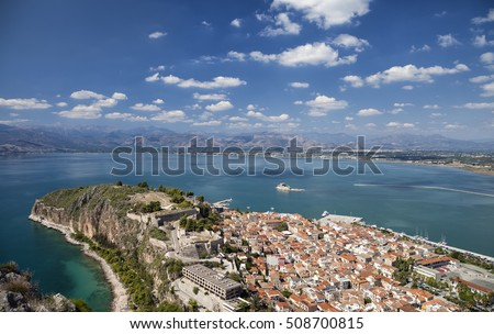 View of fortifications of Acronauplia, of Bourtzi and the old part of the city of Nafplion (Nafplio) from Palamidi castle, Greece