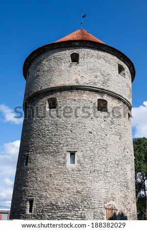 View of fortress towers and church on sky background. Tallinn. Estonia - stock photo