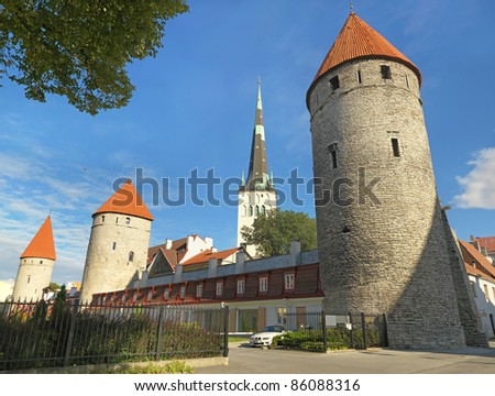 View of fortress towers and church .Tallinn. Estonia - stock photo